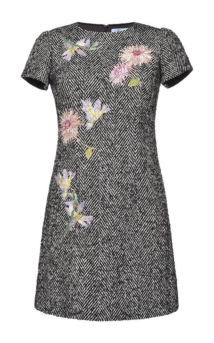 Embroidered Herringbone Short Dress by BLUMARINE for Preorder on Moda Operandi