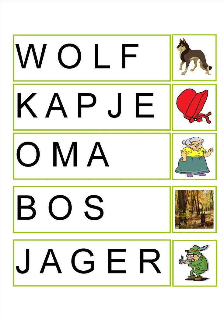 Woordkaart 1 roodkapje (Woorden natypen op computer of naleggen met letterkaartjes)