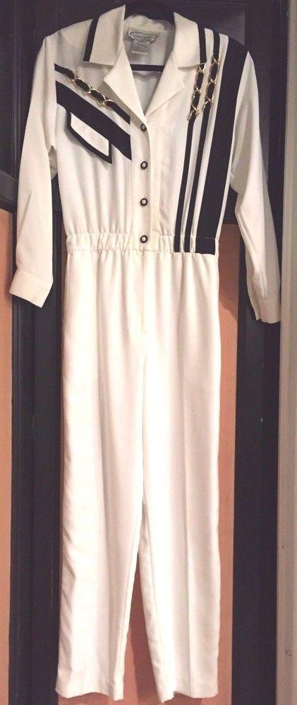 Saint Germain Paris Retro Black White Nautical Jumpsuit Jumper Pants Suit Size 4 #SaintGermainParis #JumpsuitPantsuitOnePiece