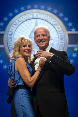 Joe and Jill Biden enjoy their dance, while being serenaded by Jamie Foxx. Photograph: Carolyn Kaster/AP 9.57pm ET