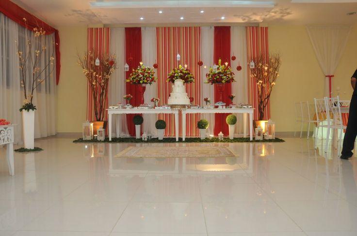 Casamento Vermelho com Dourado  Casa de Festa & Buffet Star