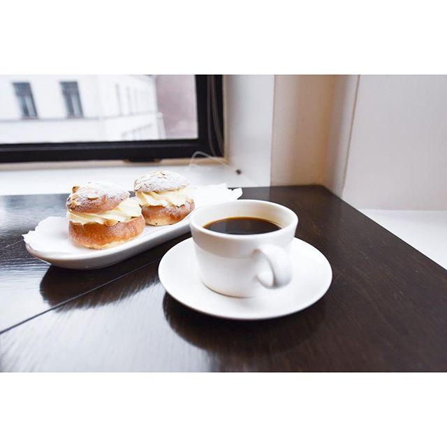 A couple of tasty shrove buns with coffee. #coffee #coffeebreak