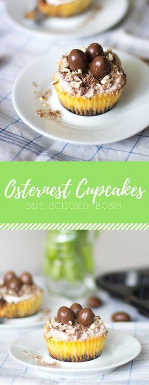 Osternest Cupcakes mit Schoko-Bons