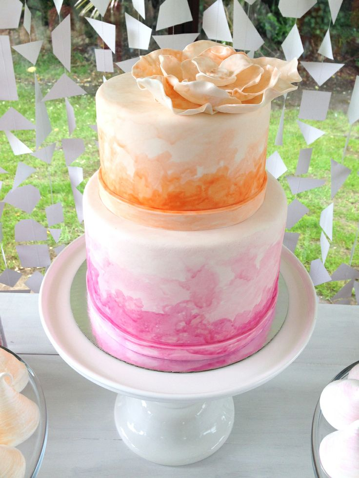 Watercolour Wedding Cake by Sweet Bakery & Cakery, Wellington, NZ (www.sweetbakery.co.nz)