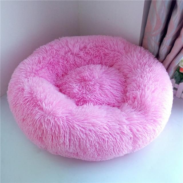 Plush Round Donut Pet Bed Model Paws Pet Bed Pink Dog Beds Donut Dog Bed