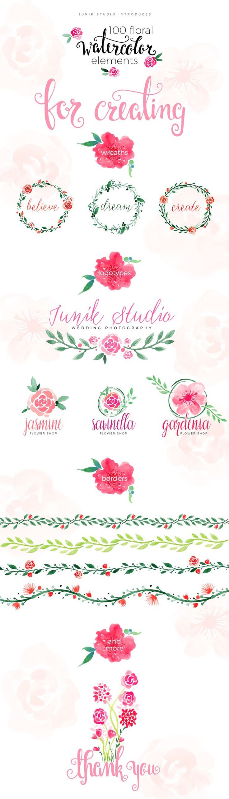 This pack includes 100 free watercolor elements in PNG file format and is designed by Junik Studio. You can download and use these floral elements for free in your personal and commercial projects.
