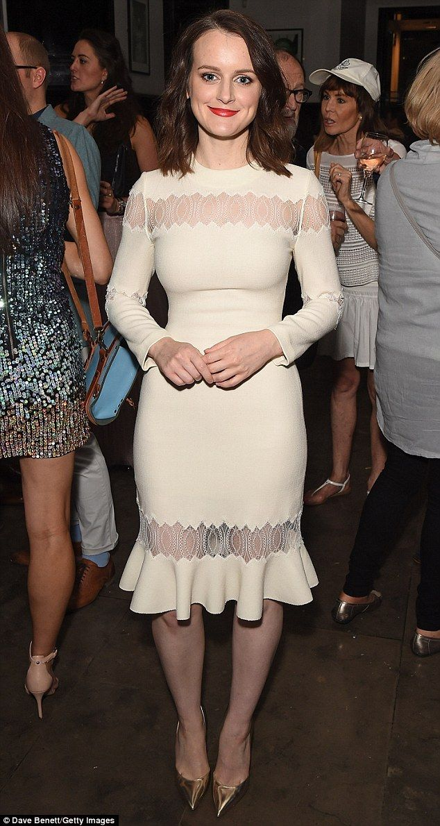 All white on the night: On Tuesday evening Sophie McShera looked worlds apart from jovial skullery maid Daisy, as she attended The Entertainer after party in London