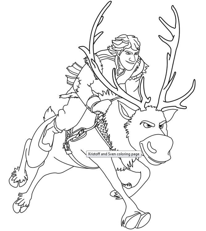what about coloring this amazing picture of kristoff and sven they are characters from disney frozen movie enjoy