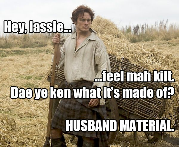 Jamie Fraser from Outlander is a true book boyfriend! We love him for many reasons, but especially because of those kilts...