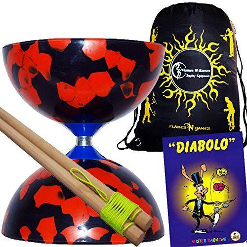 £13.44 JESTER Diabolo Set (7 Colour Options) + Wooden Diabolo sticks, Mr Babache Diabolo Booklet of Tricks + Flames N Games Travel Bag! (Red/Black): Amazon.co.uk: Toys & Games