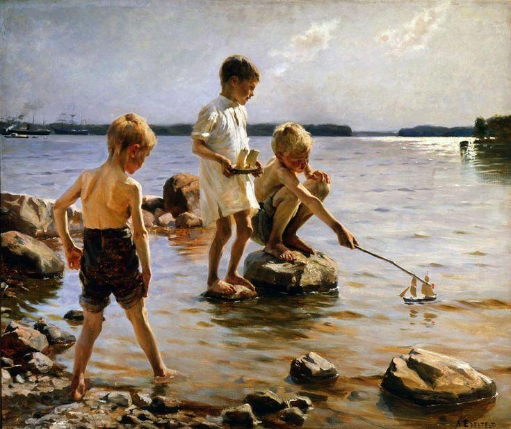 Albert Edelfelt, Leikkiviä poikia rannalla, 1884, öljy kankaalle. Kuva: Douglas Sivén. Ateneumin taidemuseo.
