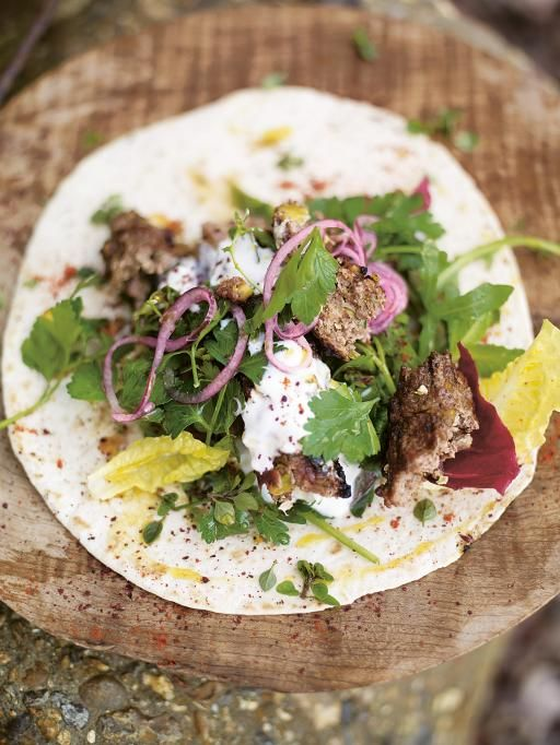 grilled lamb kofta kebabs with pistachios & spicy salad wrap | Jamie Oliver | Food | Jamie Oliver (UK)