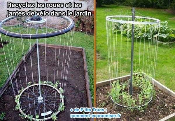 Comment+recycler+roues+et+jantes+vélo+dans+le+jardin