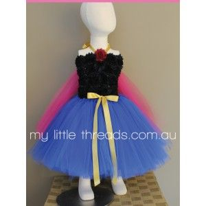 Anna Tutu Inspired by Frozen from $60  This gorgeous little tutu has a black flower crochet bodice and lots of blue, pink and black layered tulle. Available in size 0-1 up to a 4. Larger sizes avail...