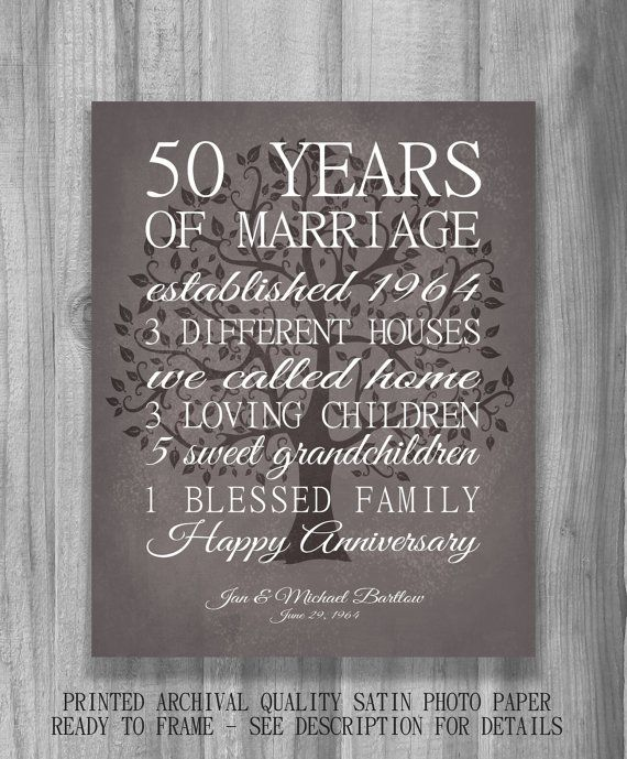 50 Year Anniversary Gift Personalized Important Dates Tree Our Life Story Love Stats Marriage Art Modern Vintage Brown Print