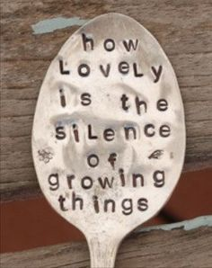 How lovely is the silence of growing things