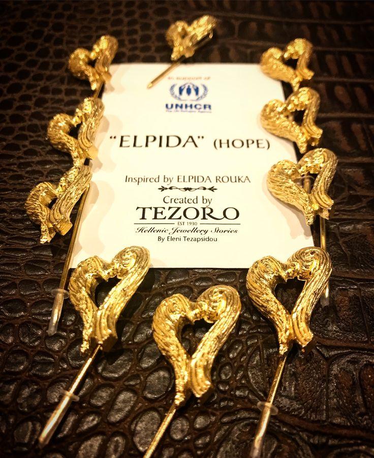 Elpida (Hope) silver 925 gold plated pins.