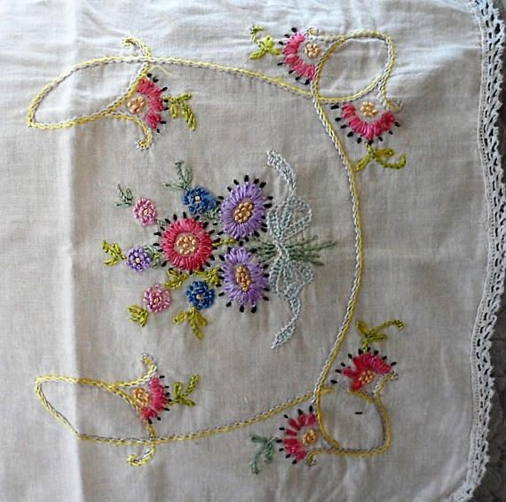 Vintage 1940's Lightweight Cotton Embroidered Table