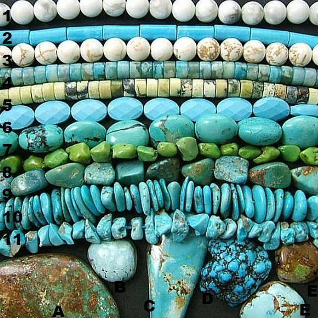 """Howlite, Magnesite, Block and Turquoise, Natural, Dyed or Stabilized. The """"Chinese Yellow Turquoise"""" may be a Serpentine, the black matrix is often attracted by a magnet. Can you tell what material is represented by each example? Click the picture to see Magpie Gemstones list."""