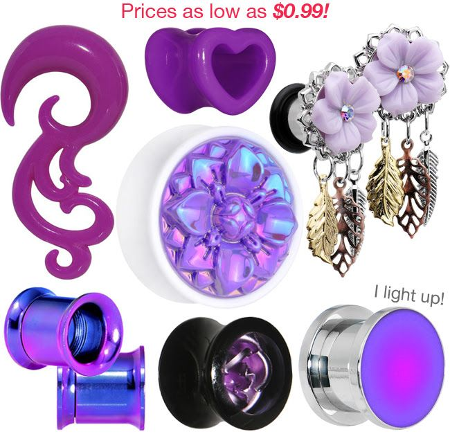Lovely Lavender Plugs & Tapers > Don't think we forgot about those stretched lobes! They deserve some purple perfection as well! PLUS - a variety of styles for plenty of gauge sizes.