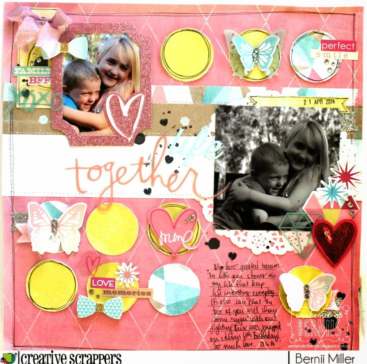 A weekend with Bernie  Such a bright happy page! Love all of the details in the layered embellishments.