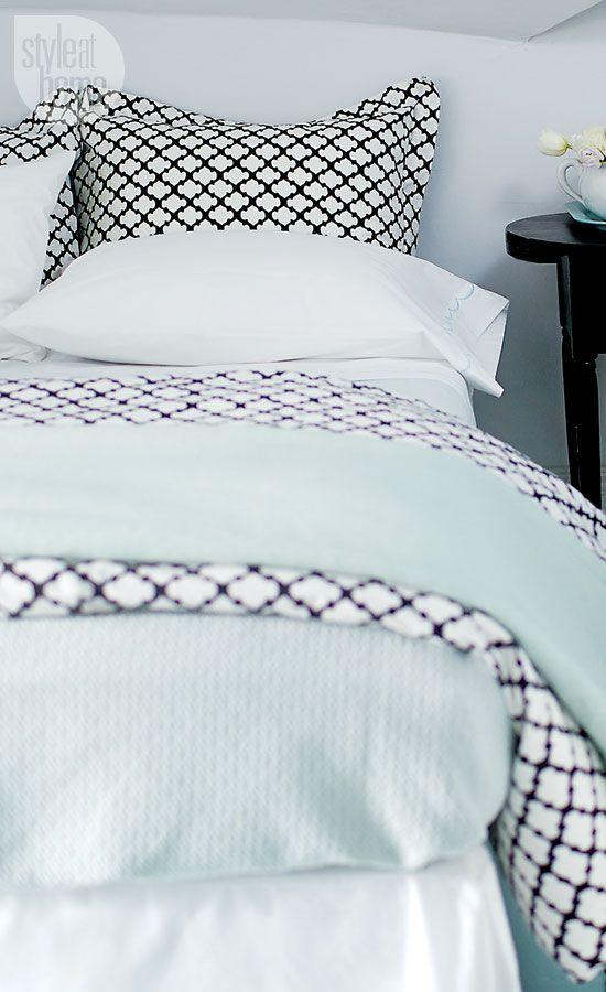 #housse #couette #linge #lit #petits #motifs #geometrique #noir #blanc