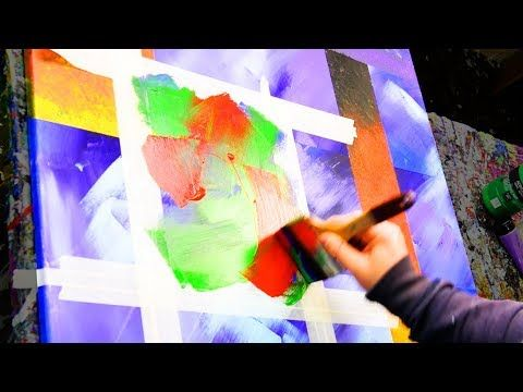 Abstract Painting Demo Acrylics with tape, brushes and paper towels – Outlive – John Beckley – YouTube