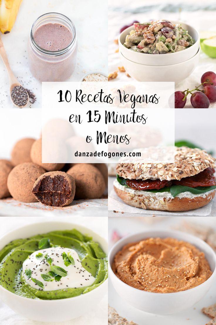 10 recetas veganas en 15 minutos o menos. Se pueden preparar deliciosas recetas veganas, sencillas, sanas y nutritivas en muy poco tiempo.