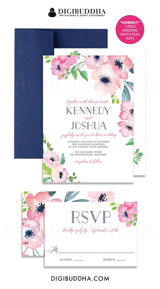 Fuchsia and Navy blue boho chic painterly watercolor flowers 2 piece wedding invitation and RSVP set with available navy blue envelopes.  Soft pastel blush pink and hot pink painted florals, with modern calligraphy and typography.  Only at digibuddha.com