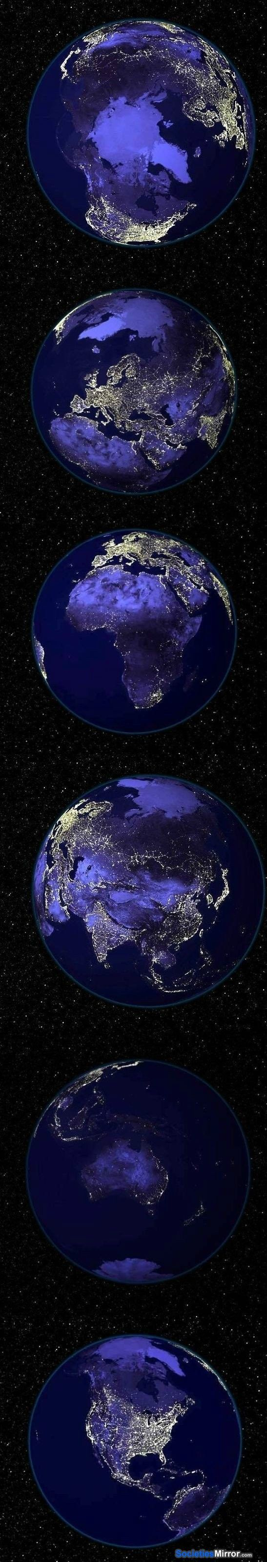 The Earth at Night - Nothing demonstrates population and wealth like the warm glow of cheap electricity from space.  Also, check out the Russian equivalent of manifest destiny...not quite as comprehensive as the American version, but then California is a lot nicer than Siberia.