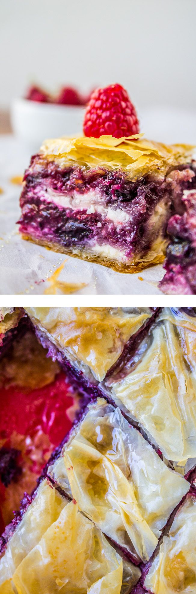 Berry Cheesecake Baklava from The Food Charlatan // A fun spin on the traditional version–the perfect make-ahead summer dessert! Plus: no nuts