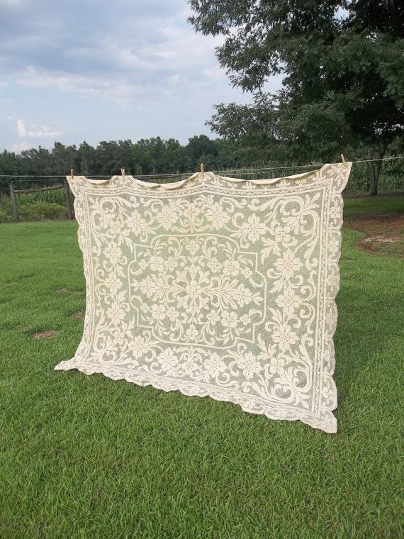 Vintage Tablecloth Crochet Lace Topper Wedding Decor Table Settings French Country Ecru Lace Sewing Supplies Topper on Etsy, $24.00