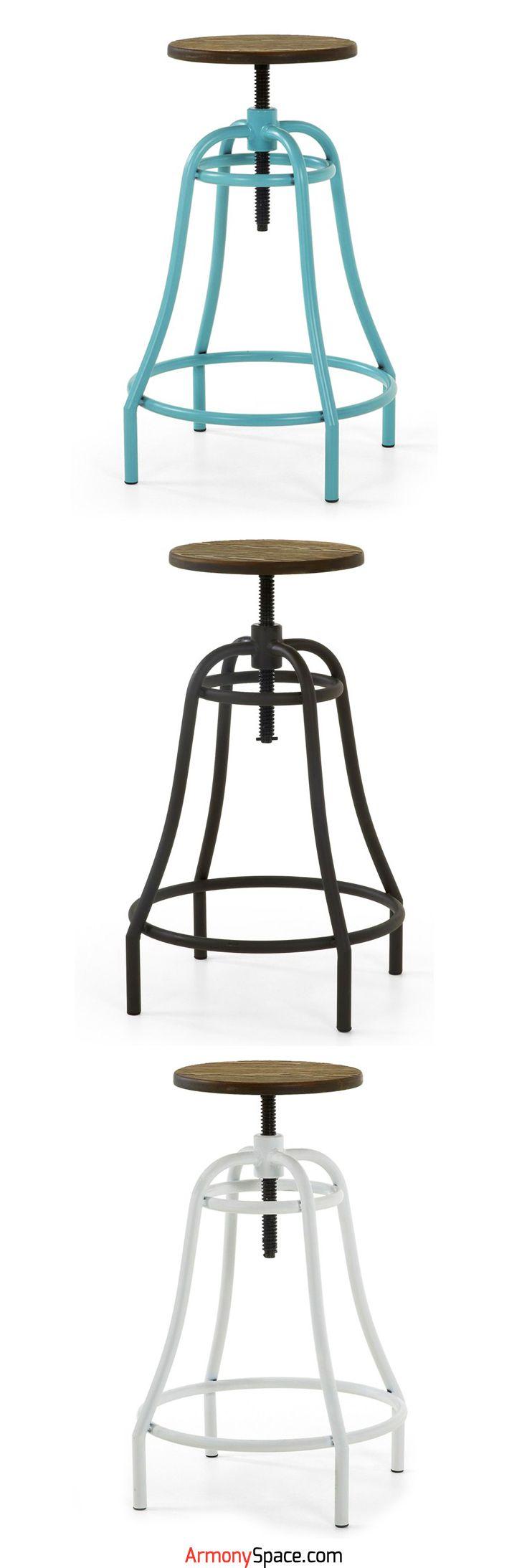 Taburete de diseño puramente industrial Aira · Purely industrial design stool Aira 🏭  Estructura metálica con pintura electroestática y asiento en madera. Es apta para uso exterior.  Industrial design www.armonyspace.com