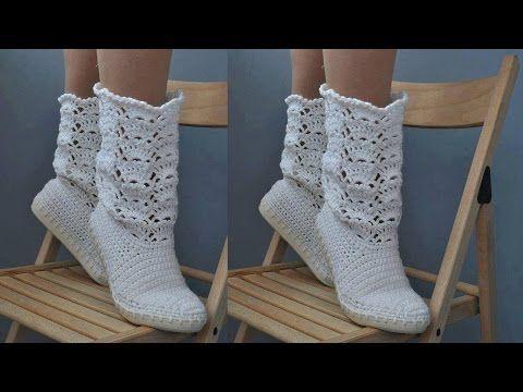 Botas blancas largas en crochet parte 1 - YouTube