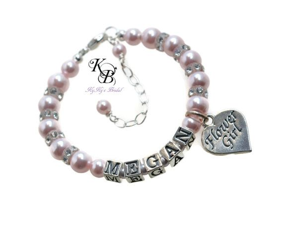 """Precious Heart Charm """"Flower Girl"""" Bracelet Personalized with her name. Choice of over 40 colors! SHOP NOW: https://www.etsy.com/listing/275532176/flower-girl-bracelet-personalized-flower?ref=shop_home_active_2 #flowergirl #bride #weddingjewelry"""