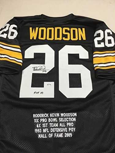 d9f56a47b86  fishingshopnow Rod Woodson Autographed Signed Pittsburgh Steelers Custom Stat  Jersey GTSM Woodson Personal Player Hologram