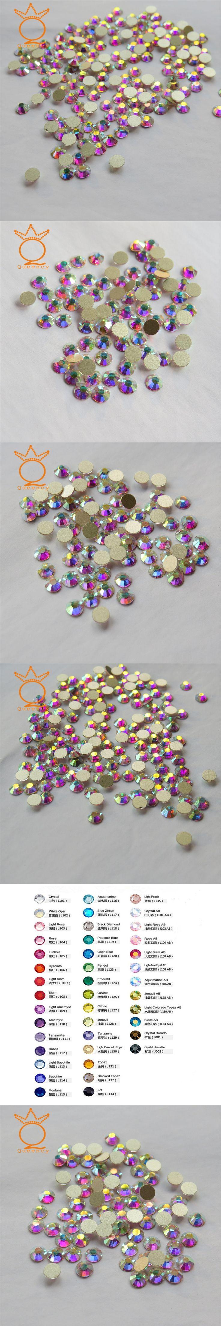 Queency SS20 1440pcs Packing AB Non Hotfix Flatback Rhinestones Nail Rhinestones for Nails Art Decoration Gems