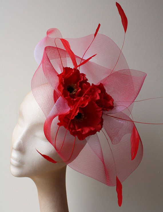 Poppy red fascinator with crin and feathers by CoutureHatsbyBeth, $250.00