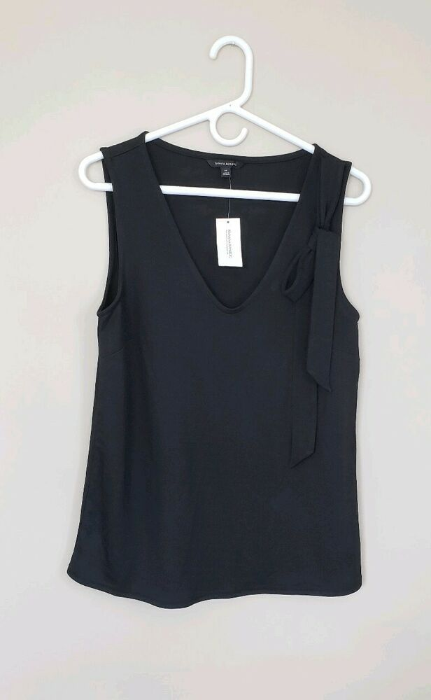 7b000a62985a67 Banana Republic M Med Medium Black Soft V-Neck Bow NWT Sleeveless Work  Blouse B1