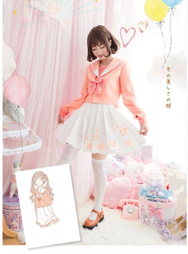 Sweet Winter Cherry Embroidery JK uniform Sailor Top and Skirt Set -Pre-order