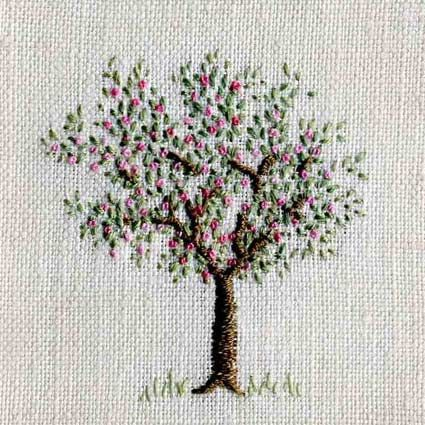 ♒ Enchanting Embroidery ♒ embroidered tree with flowers