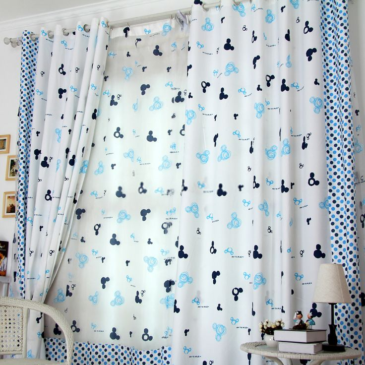Cartoon Patterns and Polka Dots Blue kids curtains