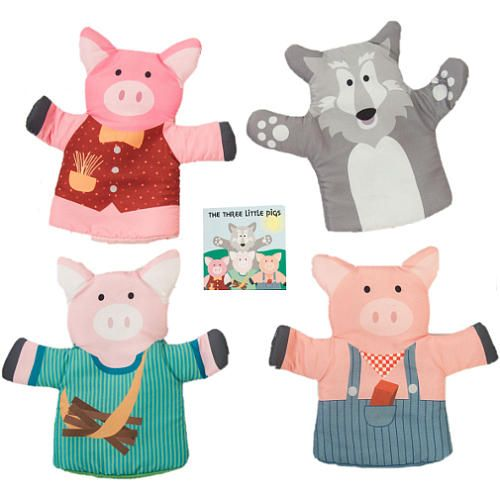This five piece hand puppet set will inspire imaginative play and story time fun. Set includes 4 character hand puppets and a storybook of The Three Little Pigs. Sized for adults and kids, puppets are made of fabric with a simple construction that comfortably fits over the hand. Perfect for role playing this classic tale or creating new stories and adventures while building kids' social, creative and language skills.