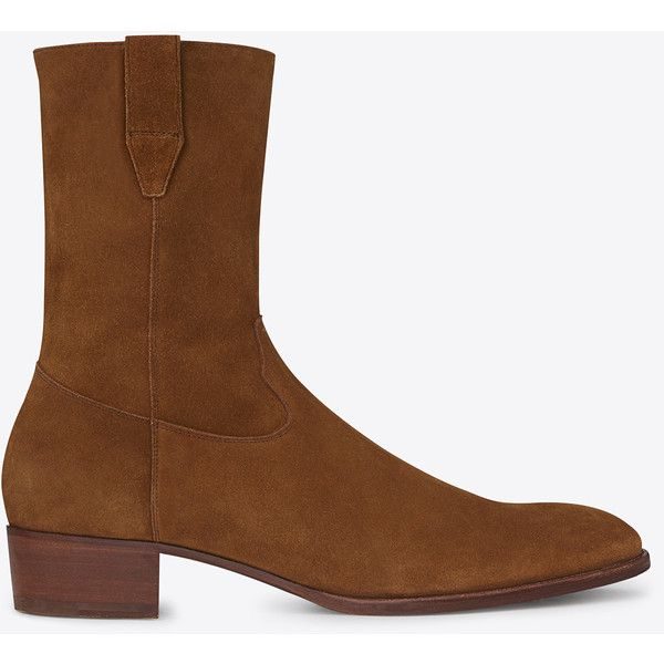 Saint Laurent Classic Wyatt 40 Boot In Ocher Suede ($995) ❤ liked on Polyvore featuring men's fashion, men's shoes, men's boots, nut, mens suede western boots, mens leather sole shoes, yves saint laurent mens shoes, mens western boots and mens western shoes