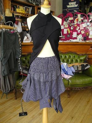 Suit halter top and recycled men's shirts skirt Junky Styling