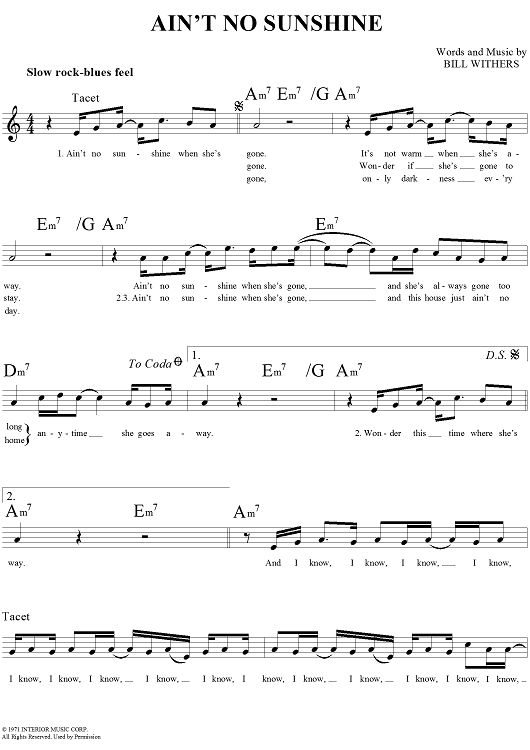 Ain't No Sunshine Sheet Music Preview Page 1