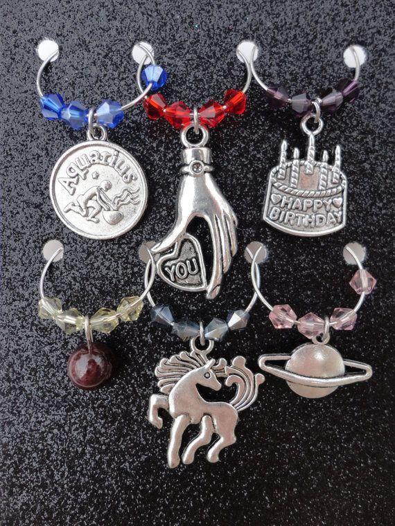 Aquarius January Year of Horse Zodiac by WineCharmsTaberna on Etsy
