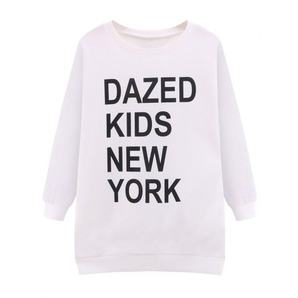 Loose Fit New York Sweatshirt (62 ILS) ❤ liked on Polyvore featuring tops, hoodies, sweatshirts, cut loose tops, loose sweatshirt, loose fit tops, loose fitting tops and loose tops