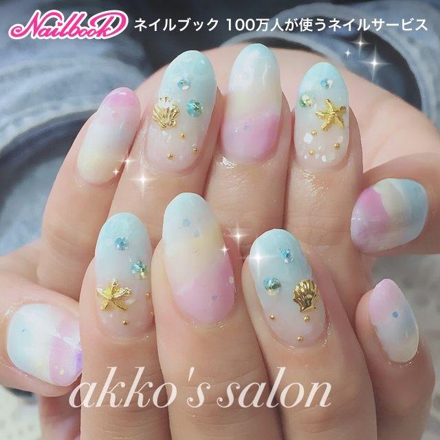 夏/デート/女子会/海/ハンド , ネイリストakkoのネイルデザイン[No.2207047]|ネイルブック