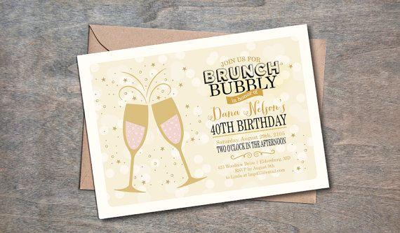 Brunch And Bubbly Invitation Champagne Brunch Invitation